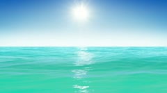Sea and sun. Blue sky. Looped animation. HD 1080. Stock Footage