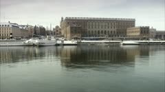 View of the Royal Palace in Stockholm from the water Stock Footage