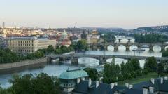 Prague, bridges, boats T/L Stock Footage