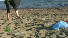 Pollution on beach Stock Footage