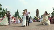 Stock Video Footage of Brides and grooms are dancing waltz 01