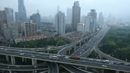 Office Buildings Shanghai Skyline Aerial View Busy Crowded Highway Commute Day Stock Footage