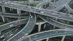 Aerial View Elevated Highway Car Passing Busy Asian Street Shanghai Intersection Stock Footage