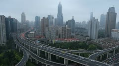 Shanghai Cityscape Bird Eye Aerial View Modern Ramp Multiple Lanes Interchange Stock Footage