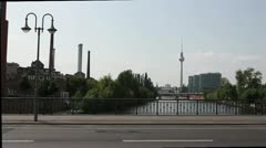 TV Tower and the River Spree in Berlin Stock Footage
