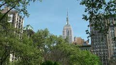Empire State Building, View from Madison Square Park. Stock Footage