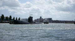 Submarine in harbour Stock Footage