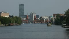Look at the Oberbaumbrücke and Spree in Berlin Stock Footage