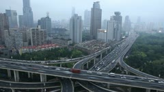 Time Lapse Corporate Towers Highway Cars Commuting Day Traffic Jam Busy Shanghai Stock Footage