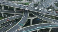 Bird Eye View Shanghai Crowded Crossroad Commuters Commuting Multiple Lanes Road Stock Footage