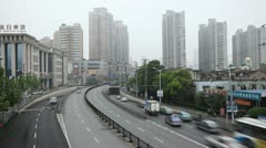 Time Lapse of Henan South Road Pedestrian Overpass, Fuxing Road, Shanghai Mosque Stock Footage
