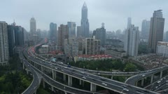 Office Towers Shanghai Skyline Panoramic Aerial View Road Busy Intersection Asia - stock footage