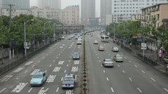 Henan South Road Pedestrian Overpass, Fuxing East Road, Shanghai, China Stock Footage