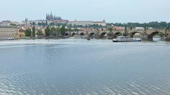 Prague, river, boats T/L Stock Footage