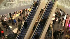 Escalators in shopping mall - stock footage