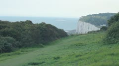 White cliffs of Dover, with ferry Stock Footage