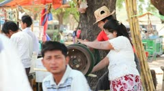 Market near Ananda temple in Bagan Stock Footage