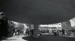 MS T/L  B/W View of people at Stureplan / Stockholm Stock Footage
