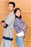 Home improvement young happy couple together Stock Photos