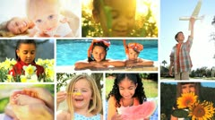 Montage Multi Ethnic Childhood Stock Footage