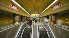 Prague, Metro station T/L Stock Footage