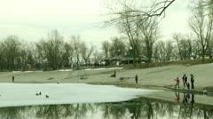 Jarun lake at winter, Zagreb Stock Footage
