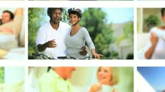 Montage Couples Healthy Outdoor Activities Stock Footage