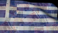Rippling Greek flag blends into euro currency animation Stock Footage