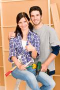 home improvement young couple diy repair tools - stock photo