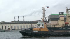 Tug-boat floats on the river. Stock Footage