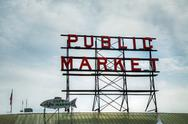 Stock Photo of famous public market sign in seattle, washington