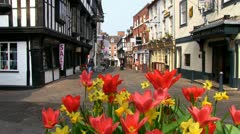 Butcher Row in Shrewsbury Stock Footage