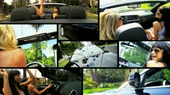 Montage Female Driving Luxury Cabriolet Car Stock Footage