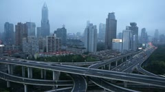 Time Lapse Shanghai High Speed Cars Drive Commuters Motion Crossing Busy Highway Stock Footage