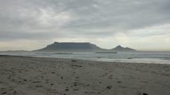 Table Mountain from Bloubergstrand in Stormy Weather Stock Footage