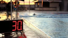 Competitive Swimming Pool Warm Ups Stock Footage