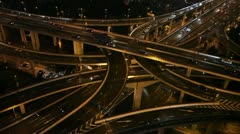 Shanghai Commuter Car Traffic Busy City People Transit Highway Night Light China - stock footage