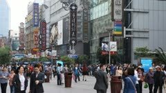 Crowds Chinese People Walking Nanjing Road Shanghai Pedestrian Shopping Street Stock Footage