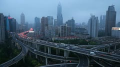 Business Buildings Shanghai Skyline Aerial Panorama View Modern Interchange Cars - stock footage