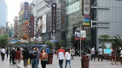 Chinese People Shop Nanjing Road Shanghai China Pedestrian Shopping Street Mall - stock footage