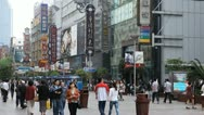 Chinese People Shop Nanjing Road Shanghai China Pedestrian Shopping Street Mall Stock Footage