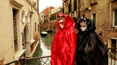 Venetian mask and gondola carneval di venezia - Venice, Venezia Stock Footage