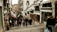 Stock Video Footage of Rialto Bridge shops Venice, Venezia