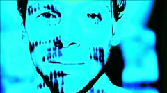 Projection, light effect, in the face of a man Stock Footage