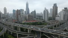 Office Building Freeway Public Transport Multiple Lane Shanghai Skyline Daylight - stock footage