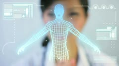 Montage Female Doctor Using CG Visual Research Stock Footage