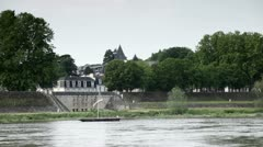 Traditional Loire river boat near to Amboise - stock footage