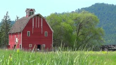 Red Barn in Field Stock Footage