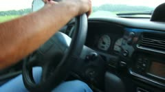 man's hand driving in car close-up - stock footage