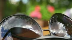Eyeglasses reflection Stock Footage